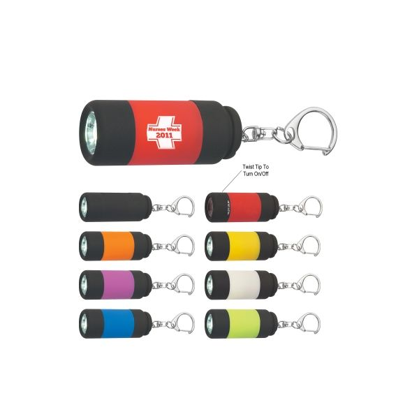 Rubberized LED Light With Key Clip