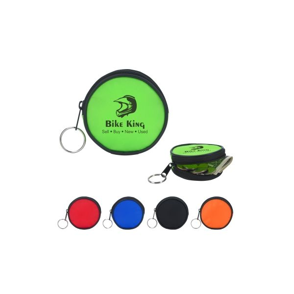 Round Zippered Coin Pouch