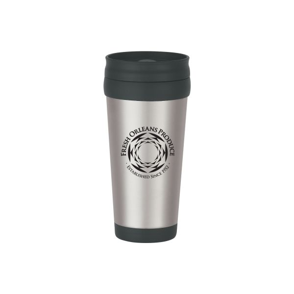 16 Oz. Stainless Steel Tumbler With Slide Action Lid And Plastic Inner Liner