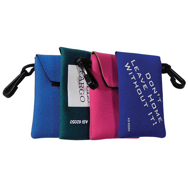 Card and Key Pouch on a Clip - Neoprene card / key pouch with clip.  Easily holds hotel key cards, your i.d. and credit card!