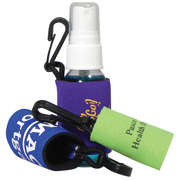Bottle Clip  - Neoprene sleeve w/clip only. Bottle sold separately.  Fits our 1 oz round personal care bottles.