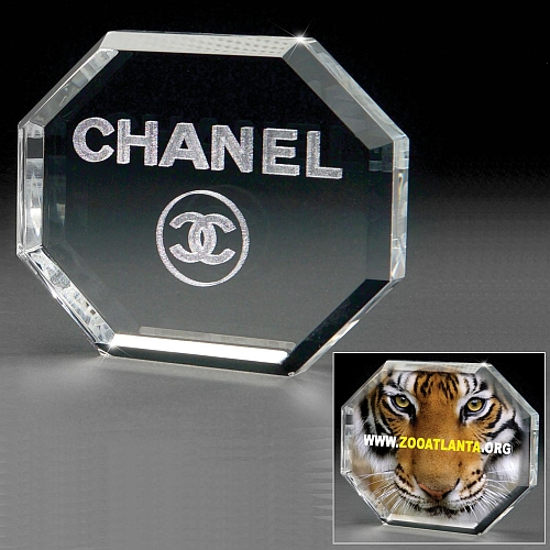3D Crystal Octagon Paperweight - 3D Lasered