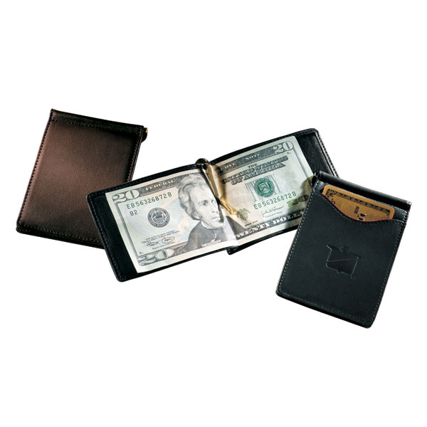 Single Money Clip with Outside Pocket