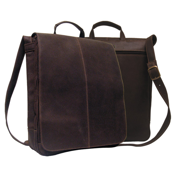 "Distressed Leather 17"" Laptop Messenger Briefcase"