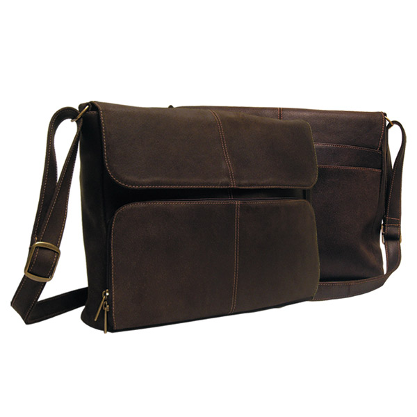 "Distressed Leather ¼""Flap Messenger Briefcase"