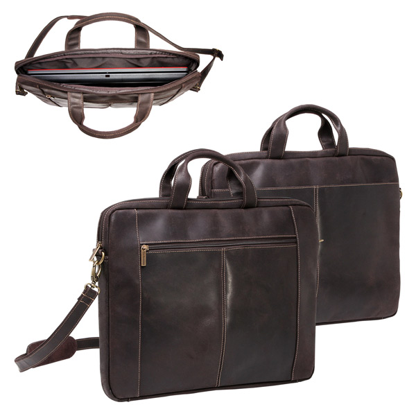 "Distressed 17"" Laptop Slim Briefcase"