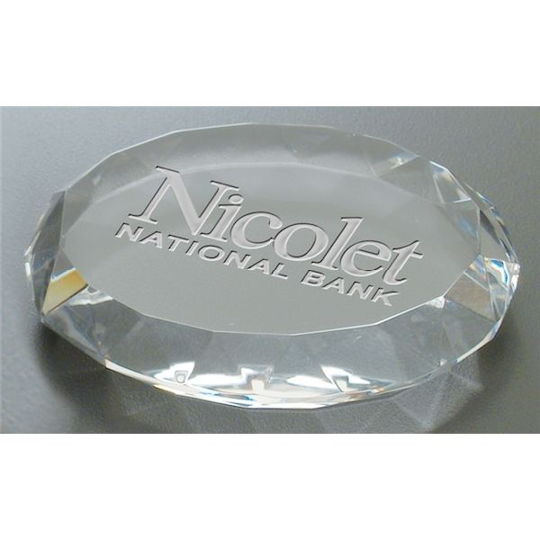 Deep Etched Faceted Oval Paperweight - Deep Etched Faceted Oval Paperweight