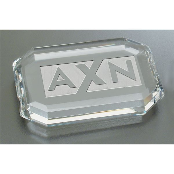 Deep Etched Faceted Rectangle Paperweight - Deep Etched Faceted Rectangle Paperweight