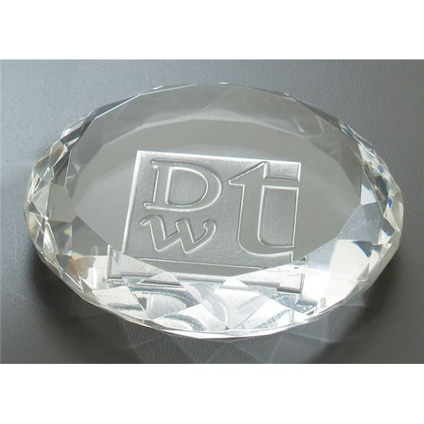 Deep Etched Faceted Circle Paperweight - Deep Etched Faceted Circle Paperweight