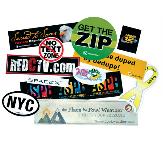 Stik-Withit® Bumper Stickers  - Bumper Stickers are removable and repostionable, digital color, available in clear (for reverse prints) and white, shrinkwrap in 50's