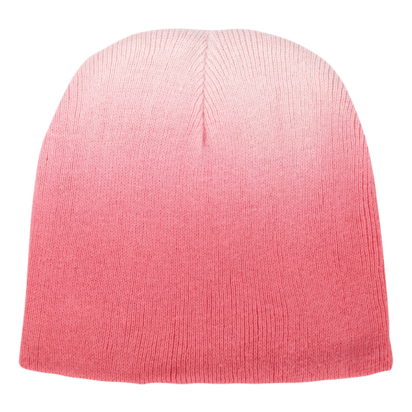 """Cotton dip dye knit beanie - Cotton dip dye knit beanie, dimensions are 7.5""""w x 8.25""""h, sizing may vary +/- 1/2"""", due to the nature of the process, the possibility exists for slight variations in sizing of the garment and placement of dip dye"""