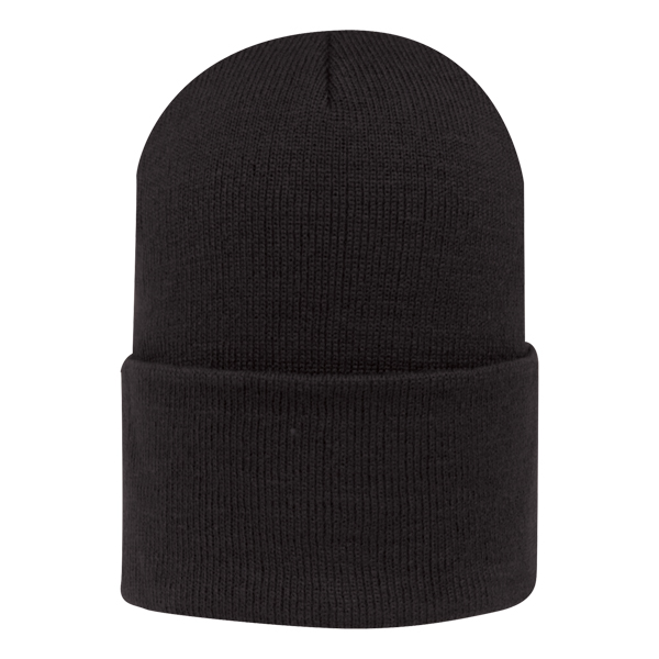 """Knit watchcap - Knit watchcap, generous cuff to accommodate embroidery, dimensions are 6.75""""w x 13.25""""h, sizing may vary +/- 1/2"""""""