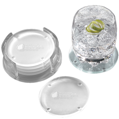 Leeman Guggenheim Round Glass Coaster Set