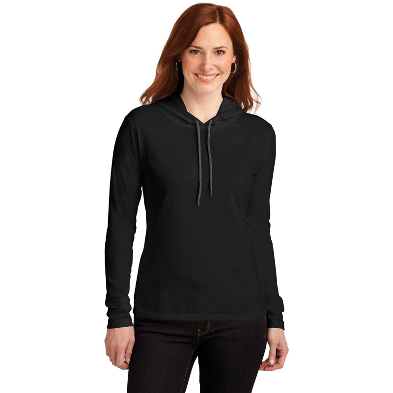 Anvil ®  Ladies 100% Ring Spun Cotton Long Sleeve Hooded T-Shirt. 887L