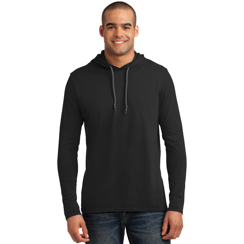 Anvil ®  100% Ring Spun Cotton Long Sleeve Hooded T-Shirt. 987