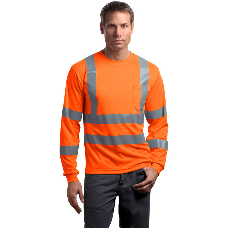 CornerStone ®  - ANSI 107 Class 3 Long Sleeve Snag-Resistant Reflective T-Shirt. CS409