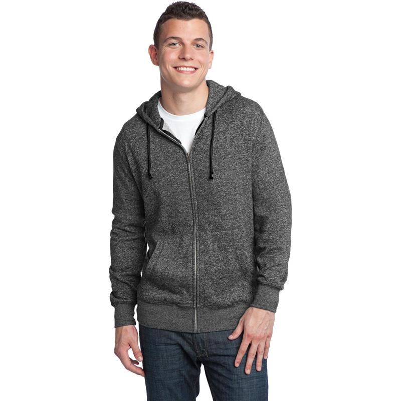 District ®  - Young Mens Marled Fleece Full-Zip Hoodie DT192