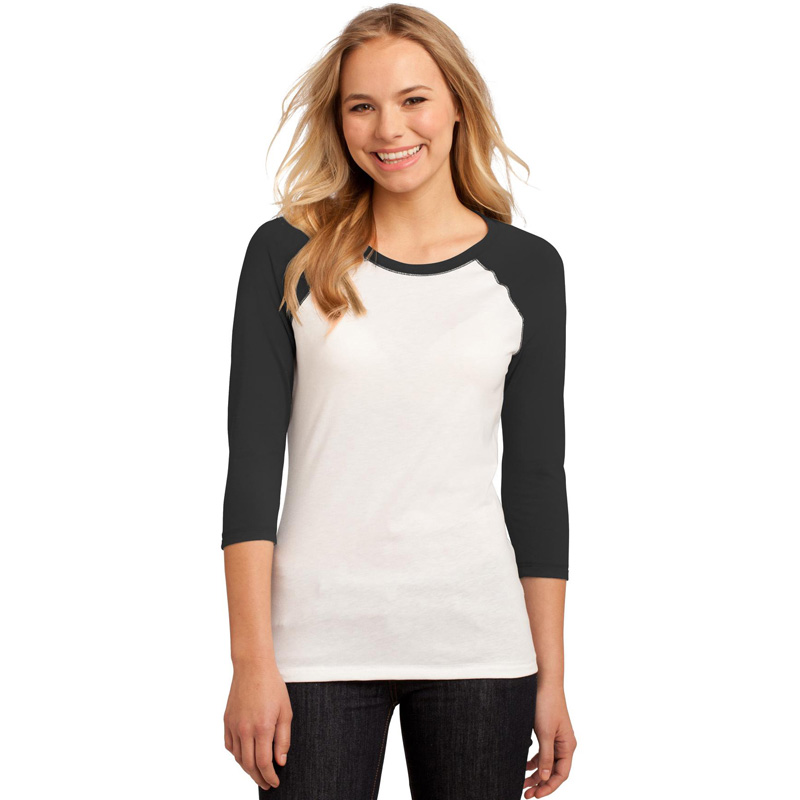 District ®  - Juniors 50/50 3/4-Sleeve Raglan Tee. DT228