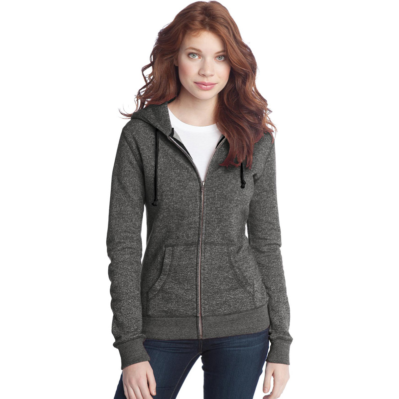 District ®  - Juniors Marled Fleece Full-Zip Hoodie DT292