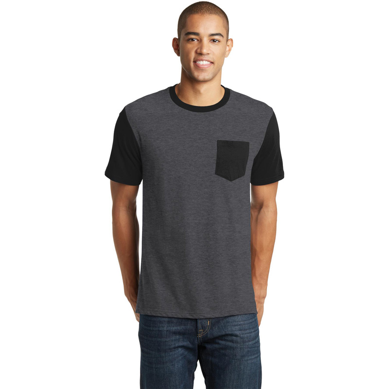 District ®  Young Mens Very Important Tee ®  with Contrast Sleeves and Pocket. DT6000SP