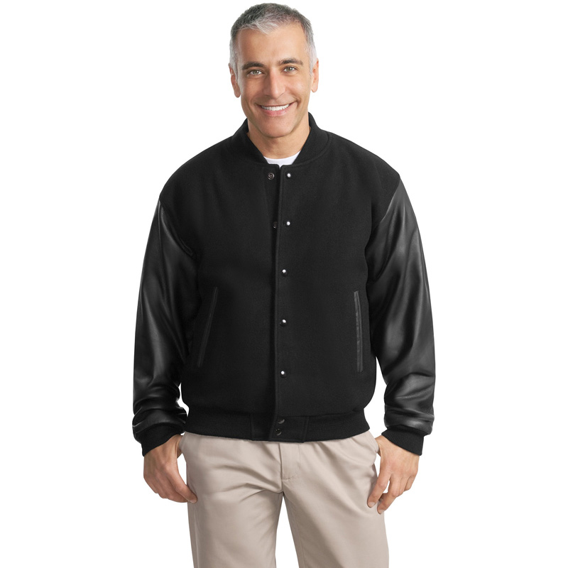 Port Authority ®  Wool and Leather Letterman Jacket.  J783