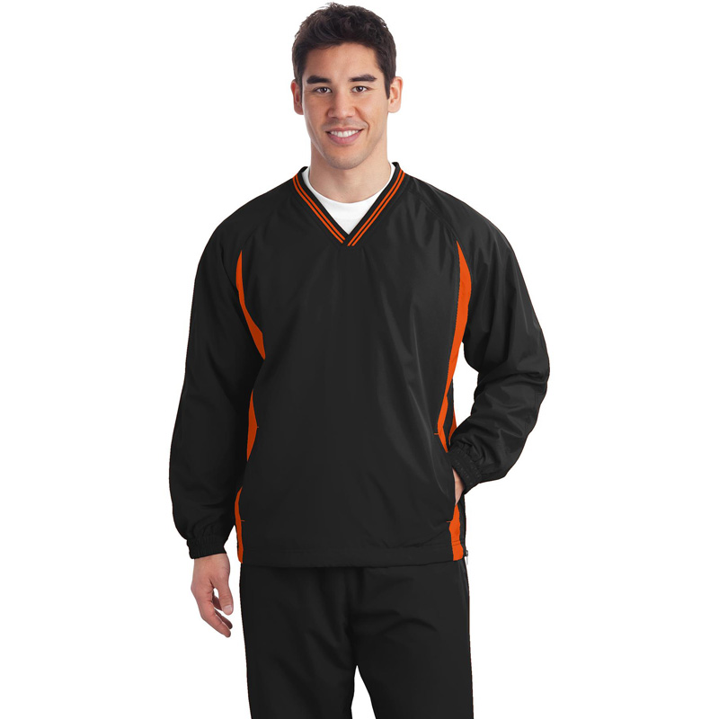 Sport-Tek ®  Tipped V-Neck Raglan Wind Shirt. JST62