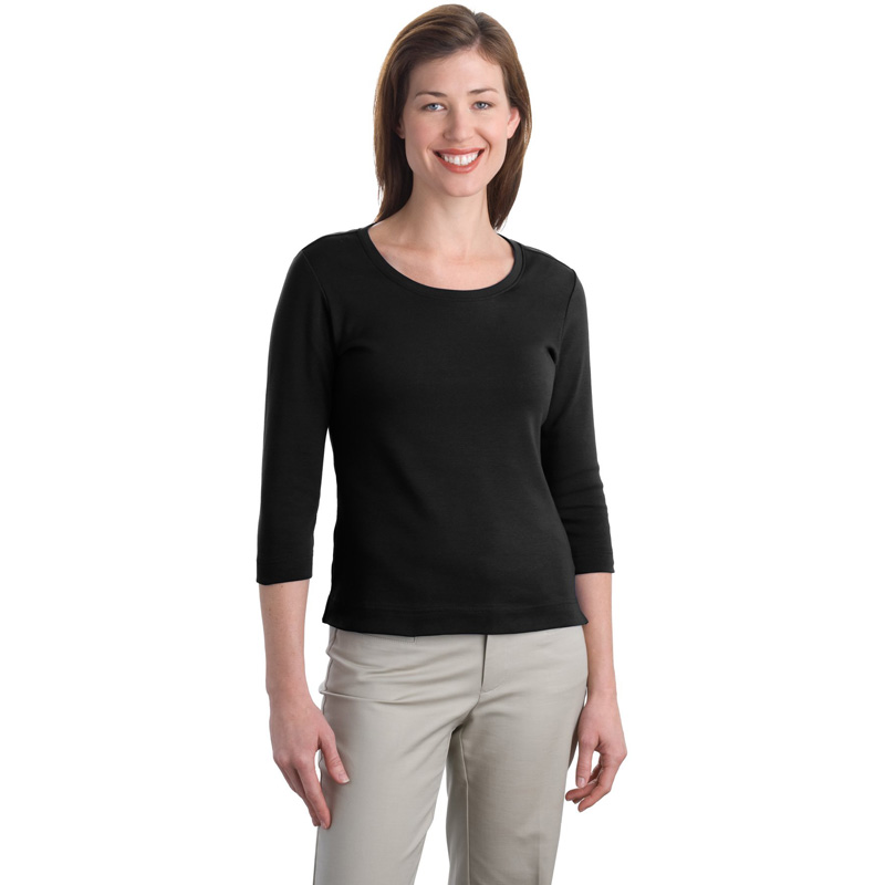 Port Authority ®  Ladies Modern Stretch Cotton 3/4-Sleeve Scoop Neck Shirt. L517