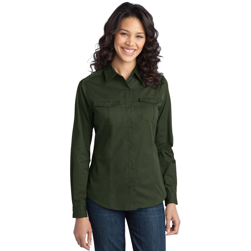 Port Authority ®  Ladies Stain-Resistant Roll Sleeve Twill Shirt. L649