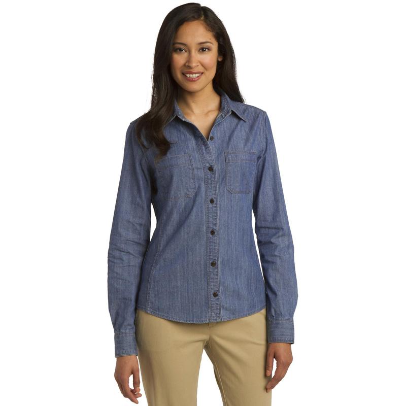 Port Authority ®  Ladies Patch Pockets Denim Shirt. L652