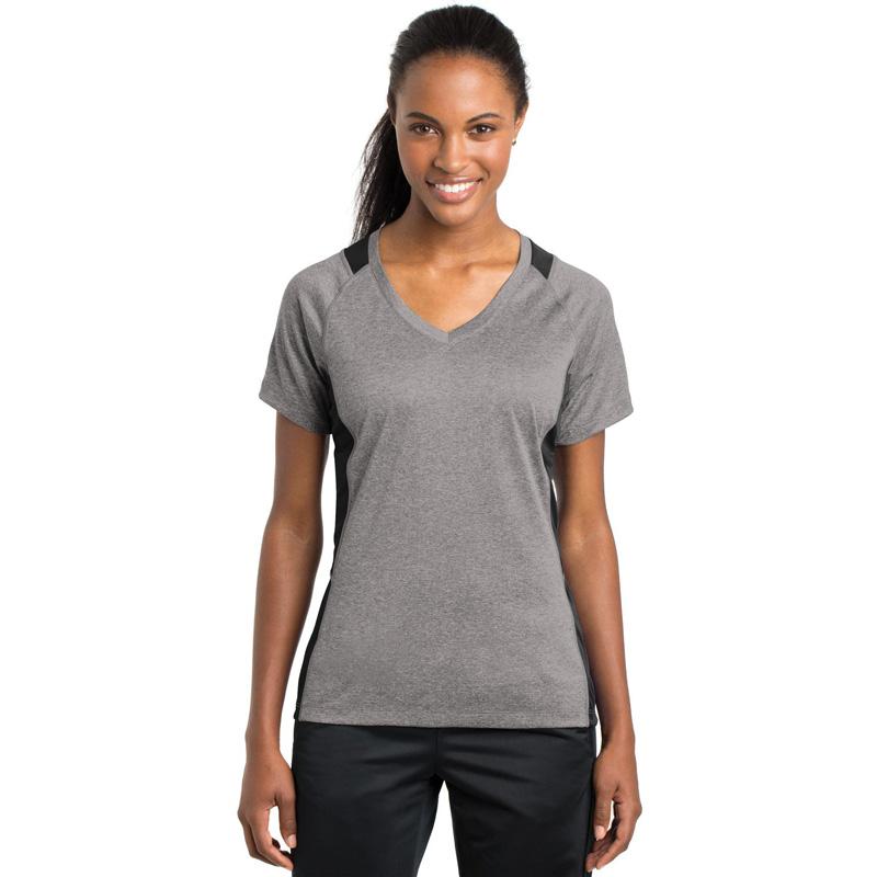 Sport-Tek ®  Ladies Heather Colorblock Contender ™  V-Neck Tee. LST361