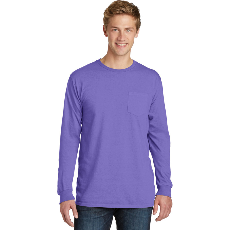 Port & Company ®  Pigment-Dyed Long Sleeve Pocket Tee.  PC099LSP