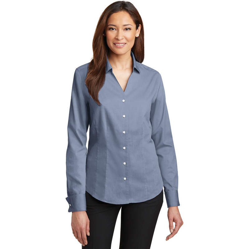 Red House ®  - Ladies French Cuff Non-Iron Pinpoint Oxford Shirt. RH63
