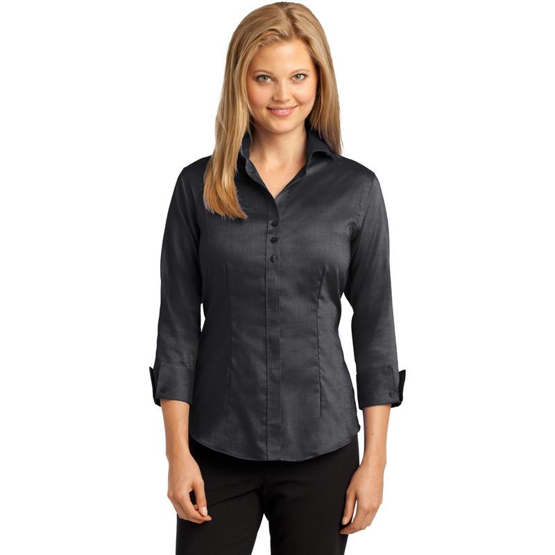 Red House 174  Ladies 3/4-Sleeve Nailhead Non-Iron Button-Down Shirt. RH69