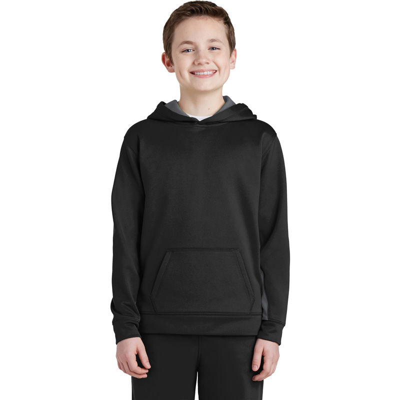 Sport-Tek ®  Youth Sport-Wick ®  Fleece Colorblock Hooded Pullover.  YST235