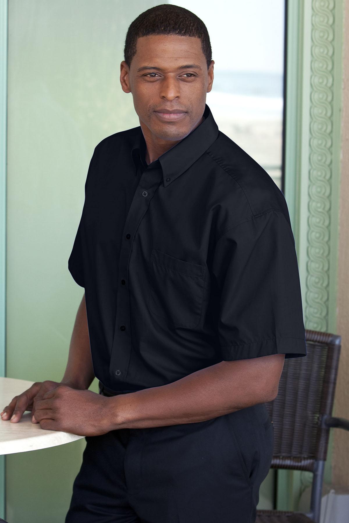 Blended Poplin Short Sleeve Shirt - Blended Poplin Short Sleeve Shirt