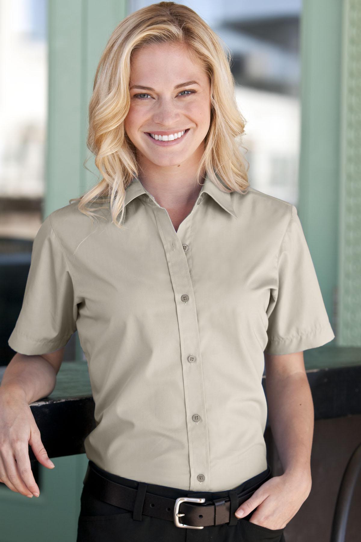 Women's Blended Poplin Short Sleeve Shirt - Women's Blended Poplin Short Sleeve Shirt