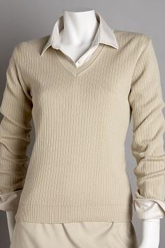 Women's V-Neck Drop-Needle Sweater - Greg Norman Women's V-Neck Sweater