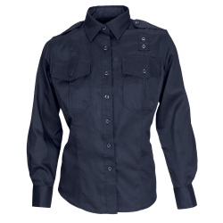 "Twill PDU Shirt - A Class - Women's - Long Sleeve (REGULAR) - Women's Class A Long Sleeve PDU Shirt is 5.78-oz twill  Teflon"" treated 65% polyester/35% cotton. Features include mic cord pass through  permanent creases and epaulettes and badge tab for an all day professional appearance."