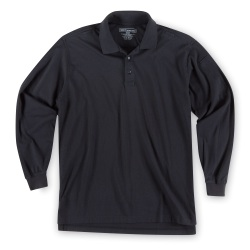 Tactical Jersey Polo - Long Sleeve - 5.11 Men's L/S Tactical Polo is made from 6 oz. 100% cotton Jersey for comfort and softness. Equipped with a No Roll collar  reinforced dual pen pockets  mic clips at center placket & shoulders and moisture wicking capabilities  the Men's Polo Jersey combines comfort and functionality into one.