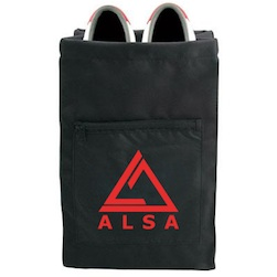 "Nylon Shoe Bag - 17"" x 9"" stylish dual-fabric nylon shoe bag with zippered pocket and drawstring closure. Imprinted on pocket. Black only."