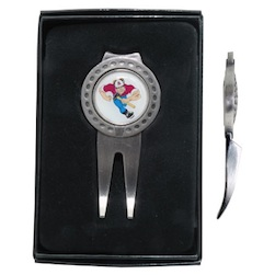 Deluxe Magnetic Ball Marker/Wedge Divot Tool - The redesigned deluxe divot tool with magnetic ball marker and club rest has a sleek design with solid metal construction and is packaged in a black gift box. Available in satin silver.