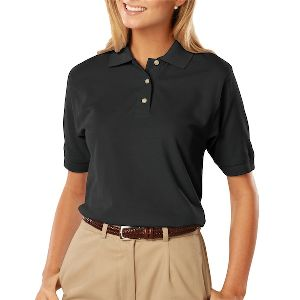 Ladies Pique Polo Shirt - Ladies short sleeve cotton pique polo shirt with straight bottom.