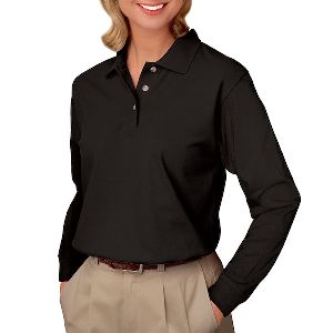 Ladies Long Sleeve Pique Polo - Ladies long sleeve polo pique shirt with no-pocket.