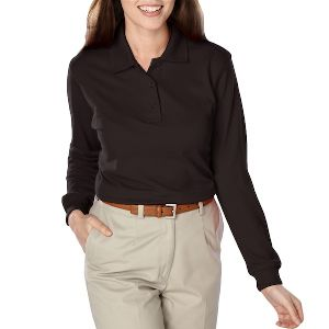 New Ladies Long Sleeve Pique Polo - New Ladies value pique polo.