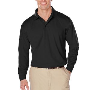 Adult Long Sleeve Snag Resistant Wicking Polo  - Adult Long Sleeve Snag Resistant Wicking Polo with Matching Buttons.
