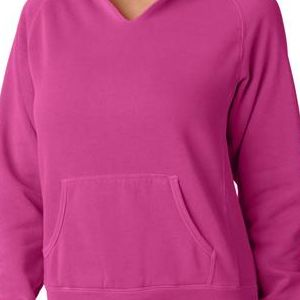 1595 Chouinard Ladies' Hooded Sweatshirt  - 1595-Raspberry DirDye