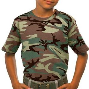 2206 Code V Youth Camouflage Cotton T-Shirt  - 2206-Green Woodland