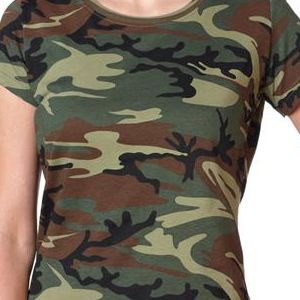 3665 Code V Ladies' Fine Jersey Camouflage Cotton T-Shirt  - 3665-Green Woodland