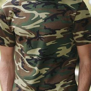 3906 Code V Adult Camouflage Cotton T-Shirt  - 3906-Green Woodland