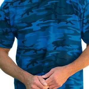 3986 Code V Adult Overdye Camouflage Cotton T-Shirt  - 3986-Blue